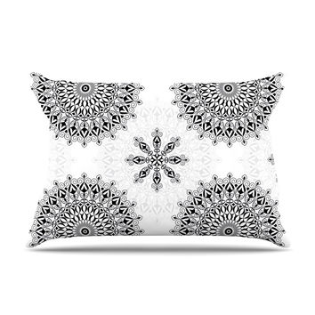 "Julia Grifol ""Black Mandala"" White Black Pillow Sham"