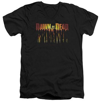 Dawn of the Dead Slim Fit V-Neck T-Shirt Walking Dead Black Tee