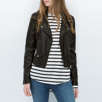 Black Rivets Embellished Faux Leather Jacket with Zipper