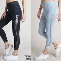 Nikibiki Braid Leggings - Vintage Ice Blue or Vintage Denim