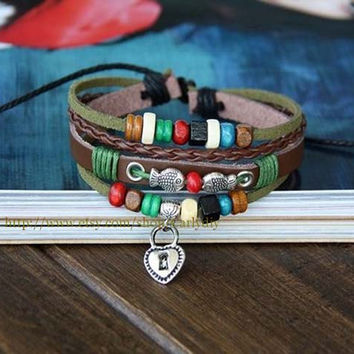 Couples Leather Bracelet; Lovers Bracelet, Sweethearts Bracelet, Key lock Bracelet, Beaded Spring Bracelet, Hemp Charm Jewelry Gift