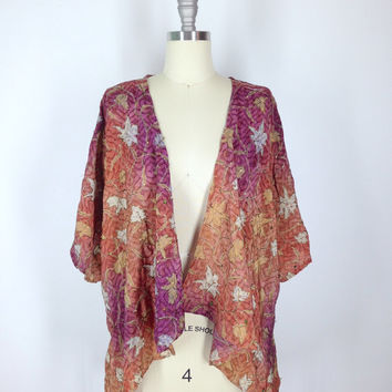 Kimono Jacket / Kimono Cardigan / Vintage Indian Silk Crepe Sari / Purple Orange Leaf Print / Sequined kimono