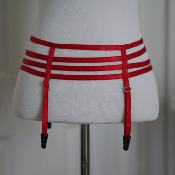 SALE Red Garter Belt, Red Cage Harness Belt, Red Strappy Harness Belt, Red Elastic Harness Belt