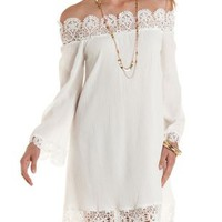 Crochet-Trim Off-the-Shoulder Shift Dress by Charlotte Russe