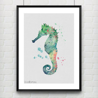 Seahorse Watercolor Poster Art Print, Nautical Home Decor, Kids Bedroom Decor, Office Decor, Gift, Not Framed, Buy 2 Get 1 Free! [No. 1-2]