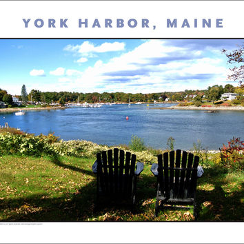 View Across 2 Lawn Chairs to York Harbor, Maine...#838