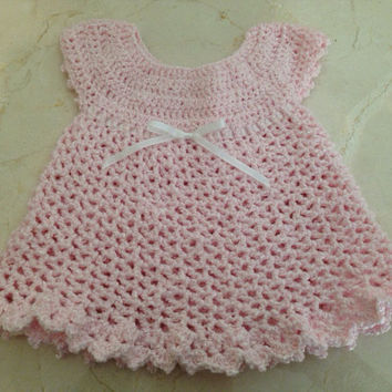 Crochet Layette/Baby Easter Dress Size 0-3 month Ready to Ship