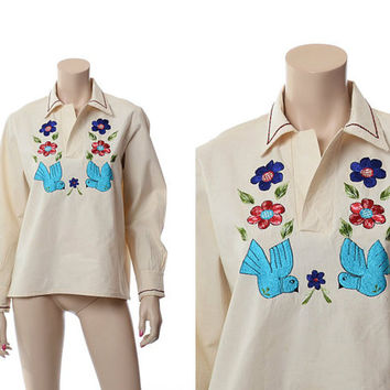 Vintage 60s 70s Mexican Embroidered Love Birds Top 1960s 1970s Doves Birds Hippie Festival Floral Blouse Boho Shirt