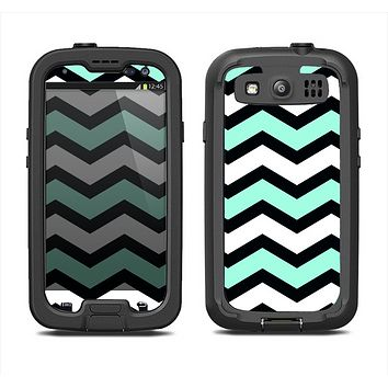 The Teal & Black Wide Chevron Pattern Samsung Galaxy S3 LifeProof Fre Case Skin Set
