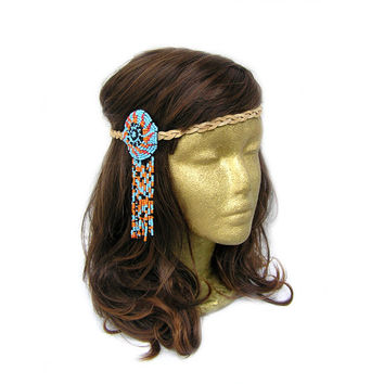 Bohemian Beads Dangles Headband with Handmade Suede Leather Braided Strand, Hipster Hippie, Tribal, Gypsy Halo, Festival Fashion