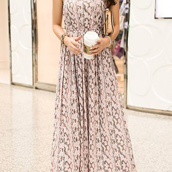Flesh Bohemian Halter Neck Chiffon Maxi Dress