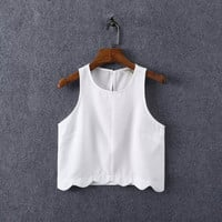 Plain Asymmetrical Sleeveless Chiffon Cropped Top