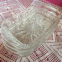 Glass Dessert Dishes, Molded Glass, French Vintage Kitchen SUMMER SALE