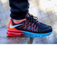 """NIKE"" Trending AirMax Behind the hook section rainbow knited line Fashion Casual Sports Shoes Black white hook (blue red soles) Internal red H Z"