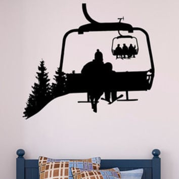 Ski Lift Chair Wall Decal, Skiing Wall Decal, Snowboard Winter Sport Wall Decal, Ski Lift Wall Decal Skiing Decor, Mountain Wall Decal K97