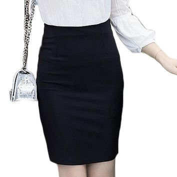 JUANBO Spring plus size Slim Sexy Formal Office Skirt Faldas Women Elastic High Waist Black Red Step Pencil Skirt Saias Skirts