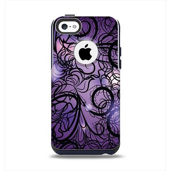 The Violet with Black Highlighted Spirals Apple iPhone 5c Otterbox Commuter Case Skin Set