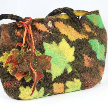 Autumn Leaves Felt Handbag