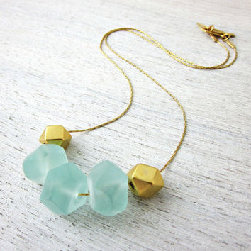 Blue Ice Necklace in Gold by shlomitofir on Etsy
