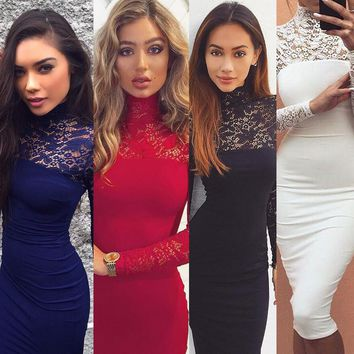 Turtleneck Long Sleeve Lace Midi Sexy Club Bandage Bodycon Dress 2018 Autumn White Red Black Women Elastic Elegant Party Dresses