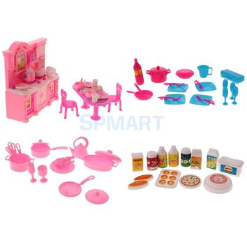 68Pcs Dollhouse Miniatures Tableware Cookware Set Food Kitchenware Dolls Kitchen Accessories for Barbie Kids Pretend Play Toys