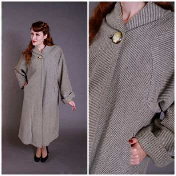 1950s Vintage Coat - Beautiful Grey and White Striped Wool Winter Coat - September in the Rain