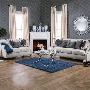 Furniture of america SM3070 2 pc cornelia collection beige fabric upholstered sofa and love seat set with nail head trim
