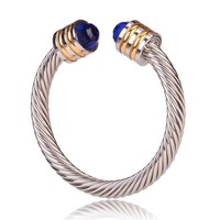 Style Cable Bracelet Gold & Silver with Blue Gem