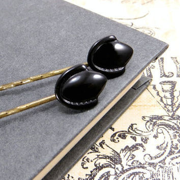 Art Deco Hair Pin, Flapper Accessories, Vintage Glass Black Bobby Pins, Art Nouveau