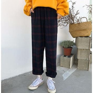 Straight Plaid Cotton Trousers