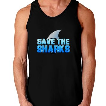 Save The Sharks - Fin Color Dark Loose Tank Top  by TooLoud