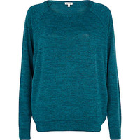 Teal marl slouchy oversized top - long sleeve t-shirts - t shirts / tanks / sweats - women