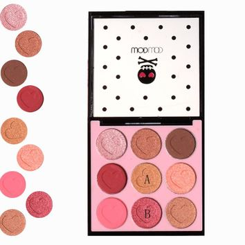 Wodwod brand professional Eyes makeup eye shadow palette heart-shaped matte eye shadow flash paint 9 colors