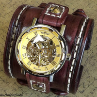 Steampunk Leather Wrist Watch, Skeleton Men's watch, Hollow Engraving Leather Cuff, Bracelet Watch, Watch Cuff, Mens Gift, Mechanical