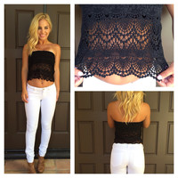 Renaissance Crochet Tube Top - BLACK