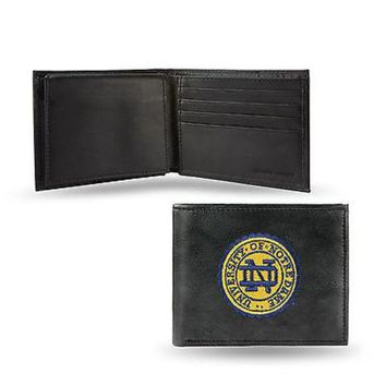 ICIKIHN Notre Dame Fighting Irish Wallet Black LEATHER BillFold Embroider University of