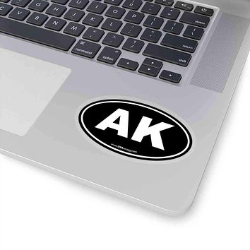 Alaska AK Euro Oval Sticker BLACK SOLID