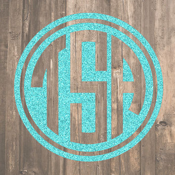 Glitter Circle Monogram Decal | Glitter Monogram Sticker | Yeti Monogram | Tumbler Monogram | Laptop Monogram | Car Monogram