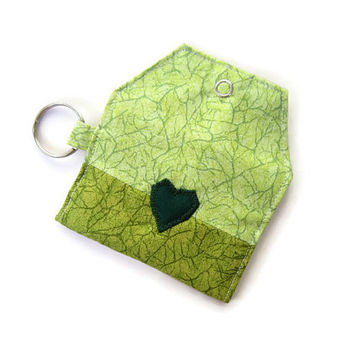 Mini key chain wallet/ simple ID Key chain pouch / Business card holder/ keychain coin purse / The Green Heart Special Edition