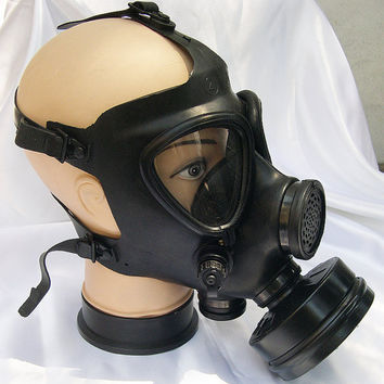 All Black Fully Functional Apocalyptic, Futuristic Full Face Israeli Military Survival Gas Mask with Filter - A BURNING MAN Must Have