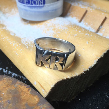 large Hand Carved Sterling Silver Ring With Initials 9mm X 14mm Made To Order