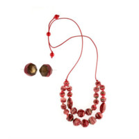 Eloquence Double Edge Necklace + Earring Set Rouge Red
