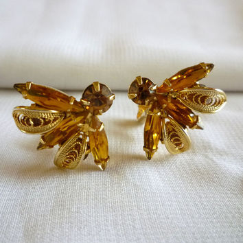Napier Rhinestone Earrings, Amber Rhinestone Flying Insect Earrings, Vintage Bug Jewelry