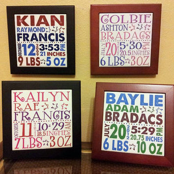 Personalized birth info tile with black or rosewood wood frame