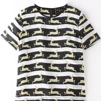 Deer Printed Striped Short Sleeve T-Shirt