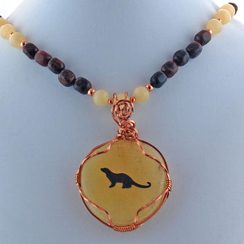 Otter Stone and Copper Pendant Necklace, Mahogany Obsidian and Yellow Jasper Pendant Necklace, Copper Wire Wrapped Pendant