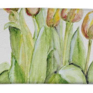 Bath Mat, Spring Tulips In A Crystal Vase