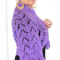 Soft knit sweater shrug with bell sleeves, fine knit wool blend bolero, gift under 60