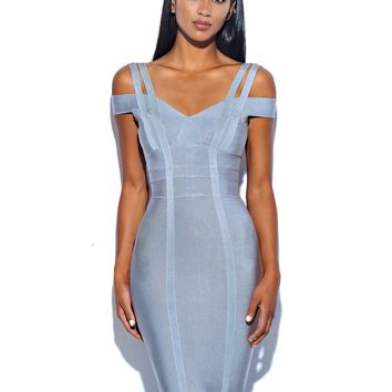 Zoey Gray Off Shoulder Double Strap Bandage Dress