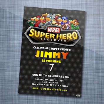 Marvel Party Superhero, Birthday Party, Invitation Card Design